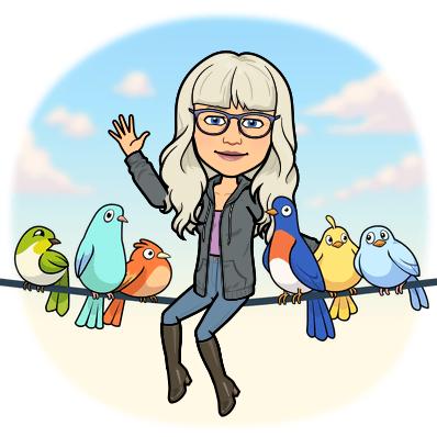 Tjej med fåglar på lina